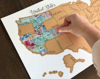 Watercolor Scratch Off Map - Travel Map - United States Map (USA ...