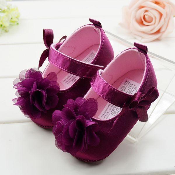 2f696412dd Aliexpress.com  Compre Moda roxo sapatos de bebê flor princesa doce meninas  da criança sapatos bebê macio inferior primeiro caminhantes grátis frete de  ...