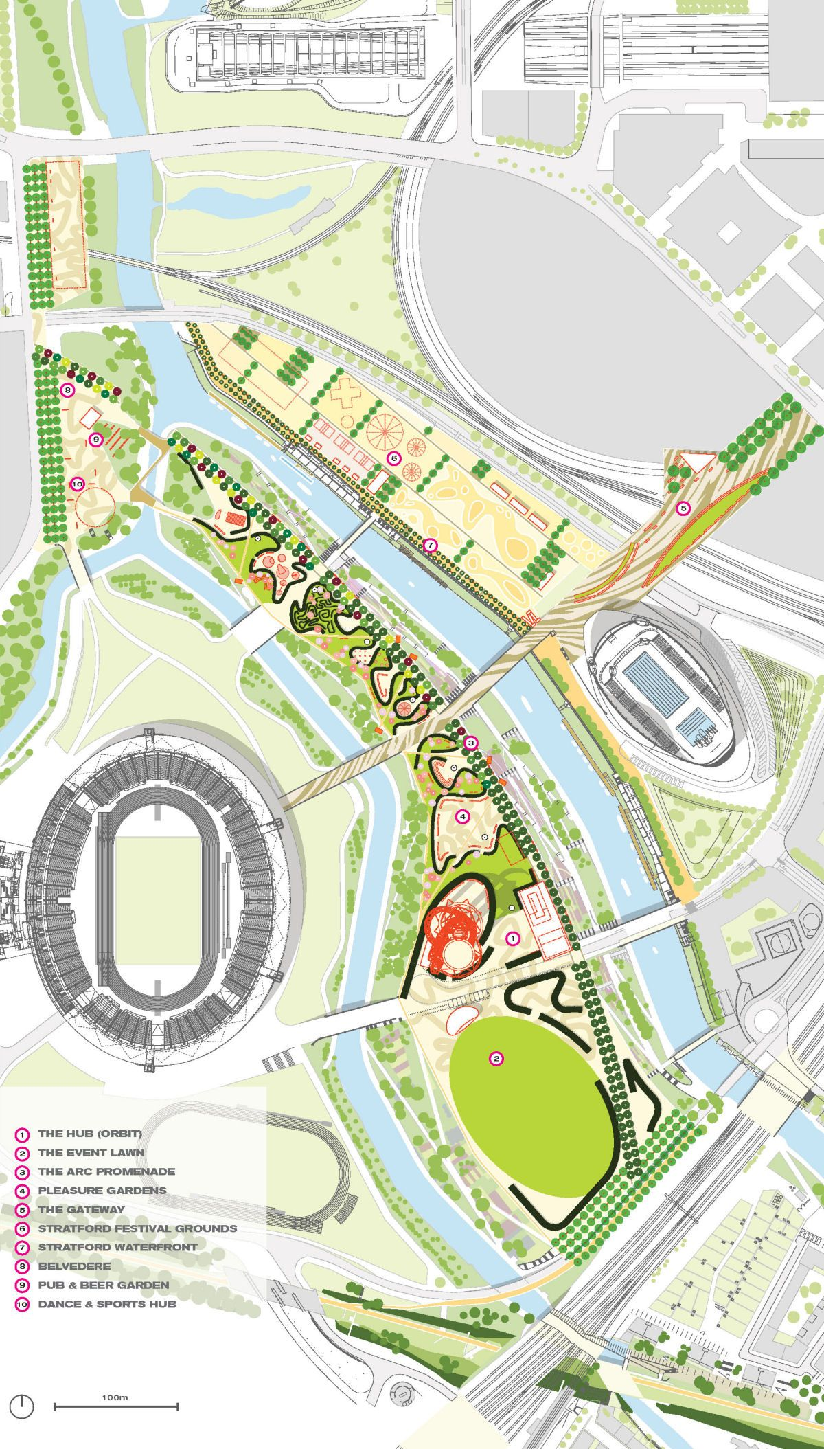 Queen Elizabeth Olympic Park Masterplan Urban Design Plan Landscape Design Linear Park