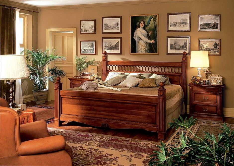 Bedroom Rustic Wooden Bed Frame Mixed With Decorative Indoor Plants Also Persian Rug And Wall Artwork