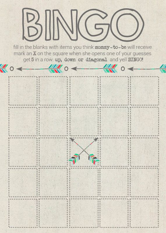Baby Shower Bingo Tirbal Aztec and Arrows by mailboxbliss