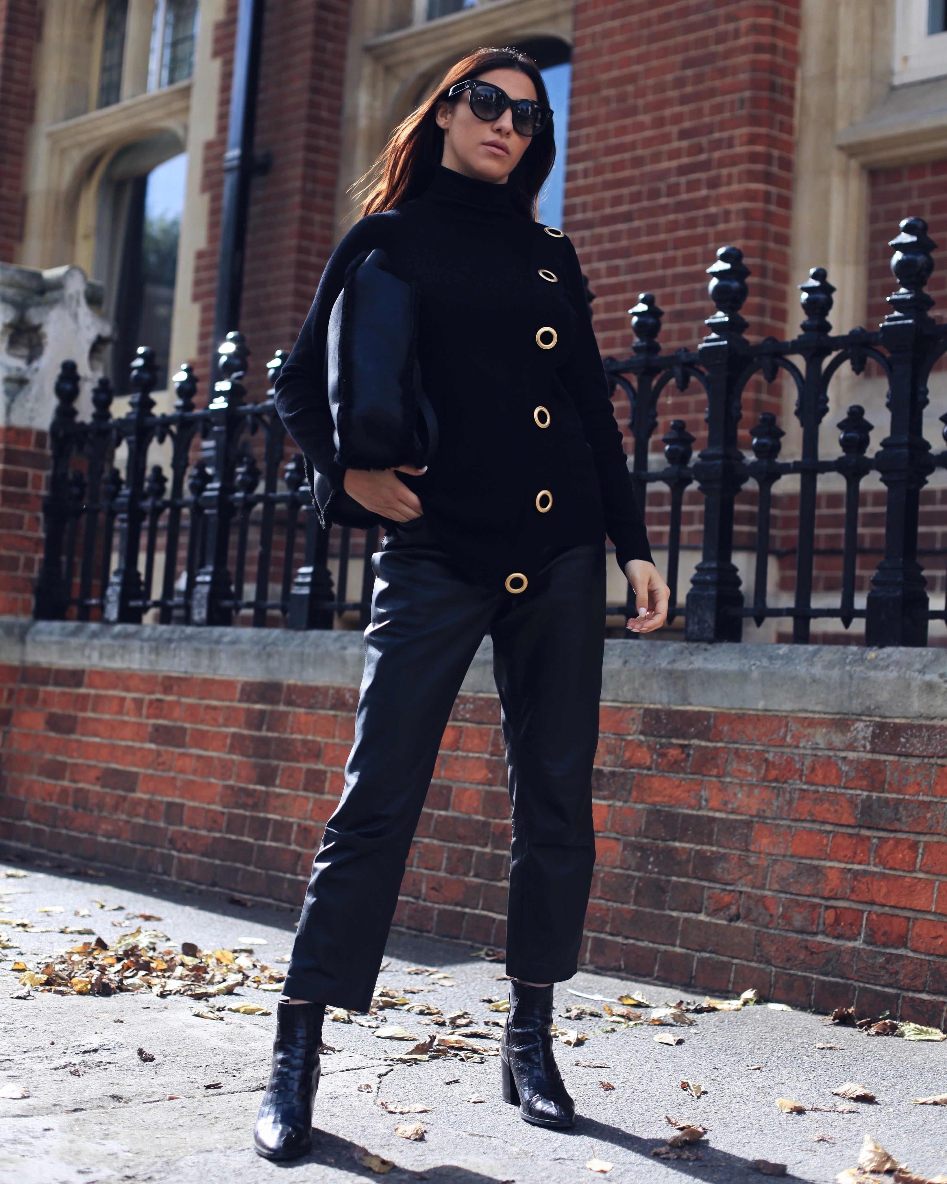 3dd69bf609 Blogger  mybubbaandme wearing Wallis Eyelet Jumper and Leather Trousers.