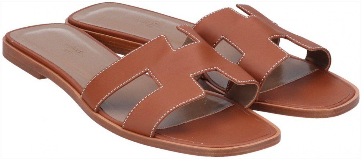 41610 Sandales Hermès Oran chaussures en cuir de veau de taille. 41,5 en brun doré   – Products