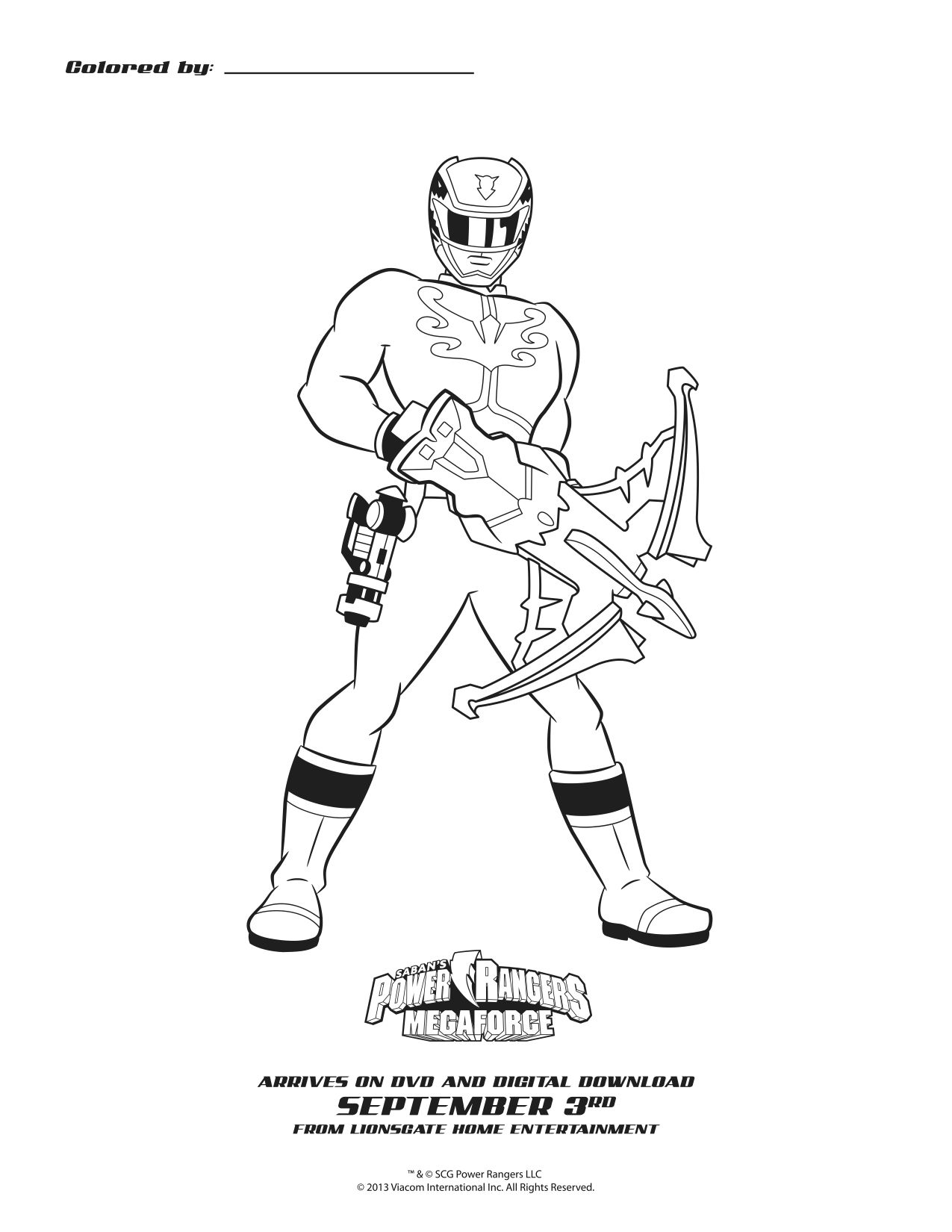 Power Rangers Megaforce Blue Ranger Printable Coloring Sheet