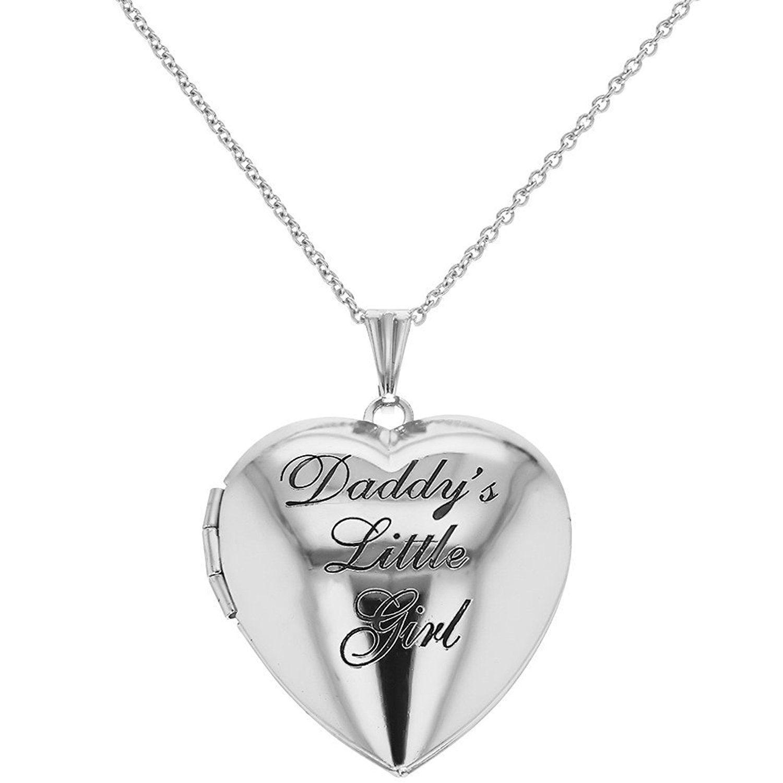 Silver Tone Heart Locket Pendant Necklace Daddy s Little