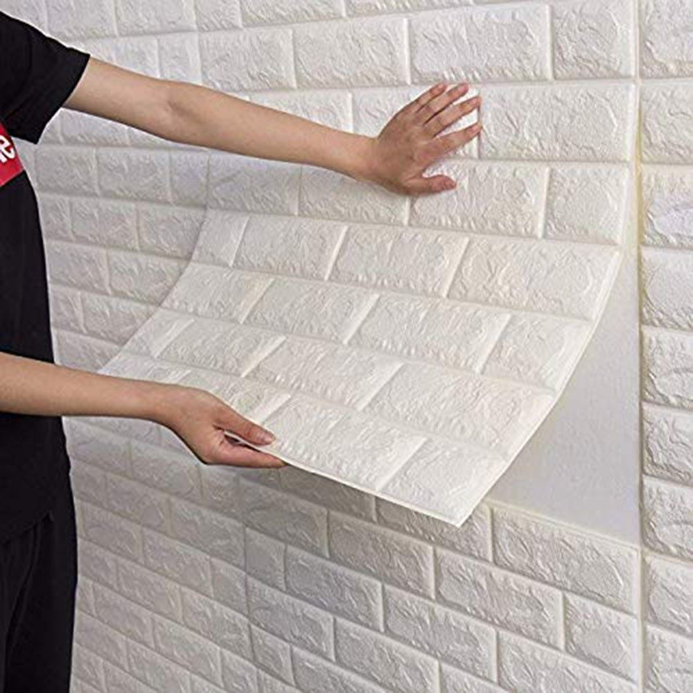 3d Brick Wall Sticker Self Adhesive Wall Tiles Peel To Stick Wall Decorative Panels For Living Room Bedroom White Walmart Com Brick Wall Paneling Brick Wall Bedroom Brick Interior Wall