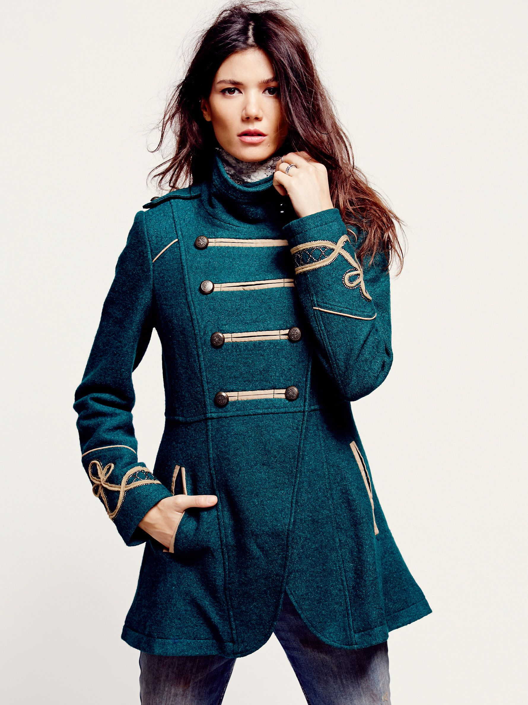 Free People Military Wool Coat Military Inspired Fashion Military Fashion Fashion [ 2375 x 1780 Pixel ]