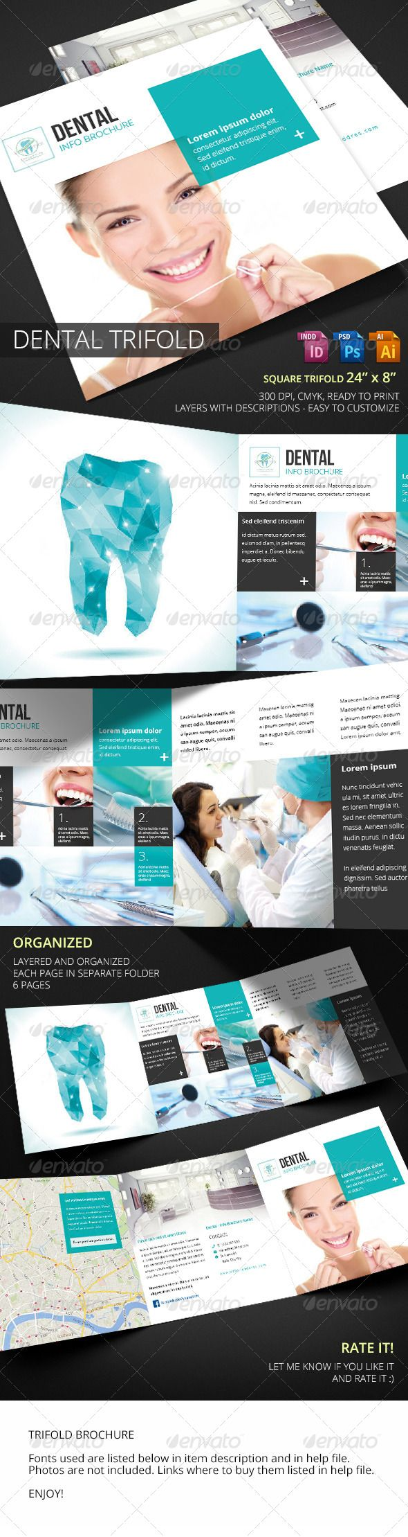 Dental Square Trifold  #hospital #medic • Available here → http://graphicriver.net/item/dental-square-trifold/7281373?s_rank=330&ref=pxcr