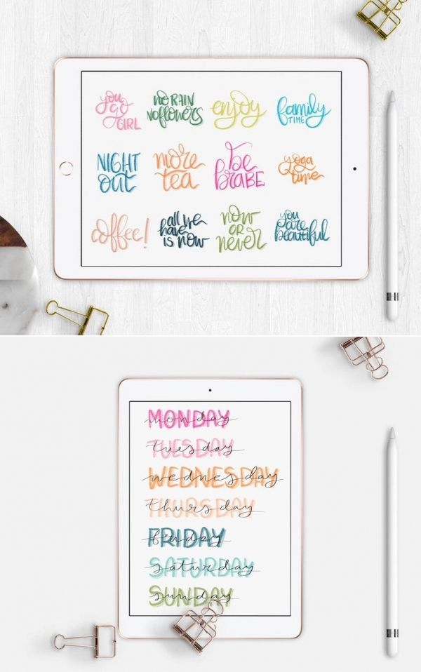 Digital stickers Goodnotes Bullet Journal. Pre cropped color bujo stickers + PNG. Digital planning or digital bullet journal on iPad
