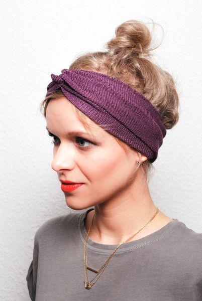 Stirnbänder - Turban Stirnband lila - ein Designerstück von ...