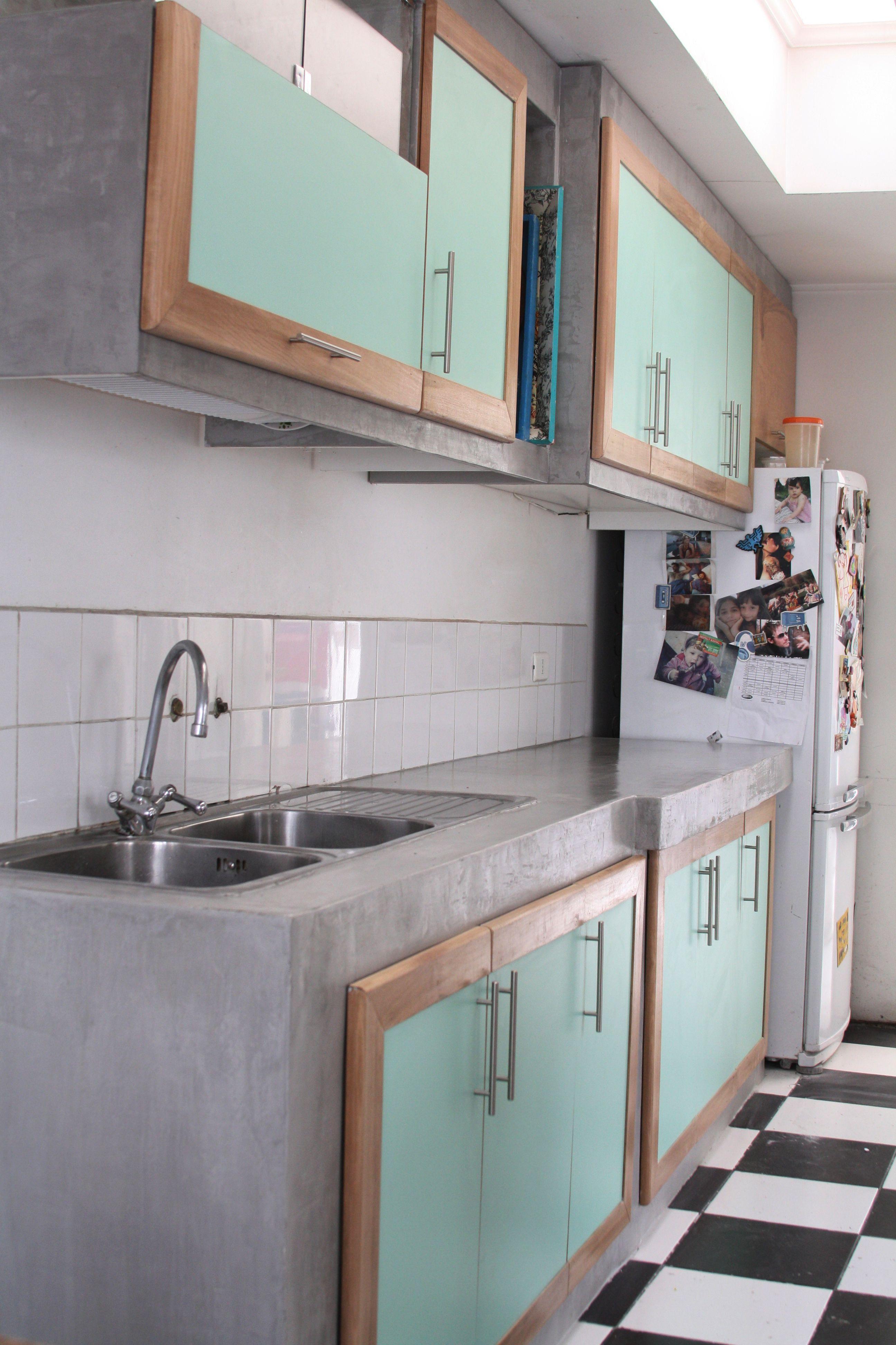 Cocina con terminación de Microcement en gris. | Diseños de cocina ...