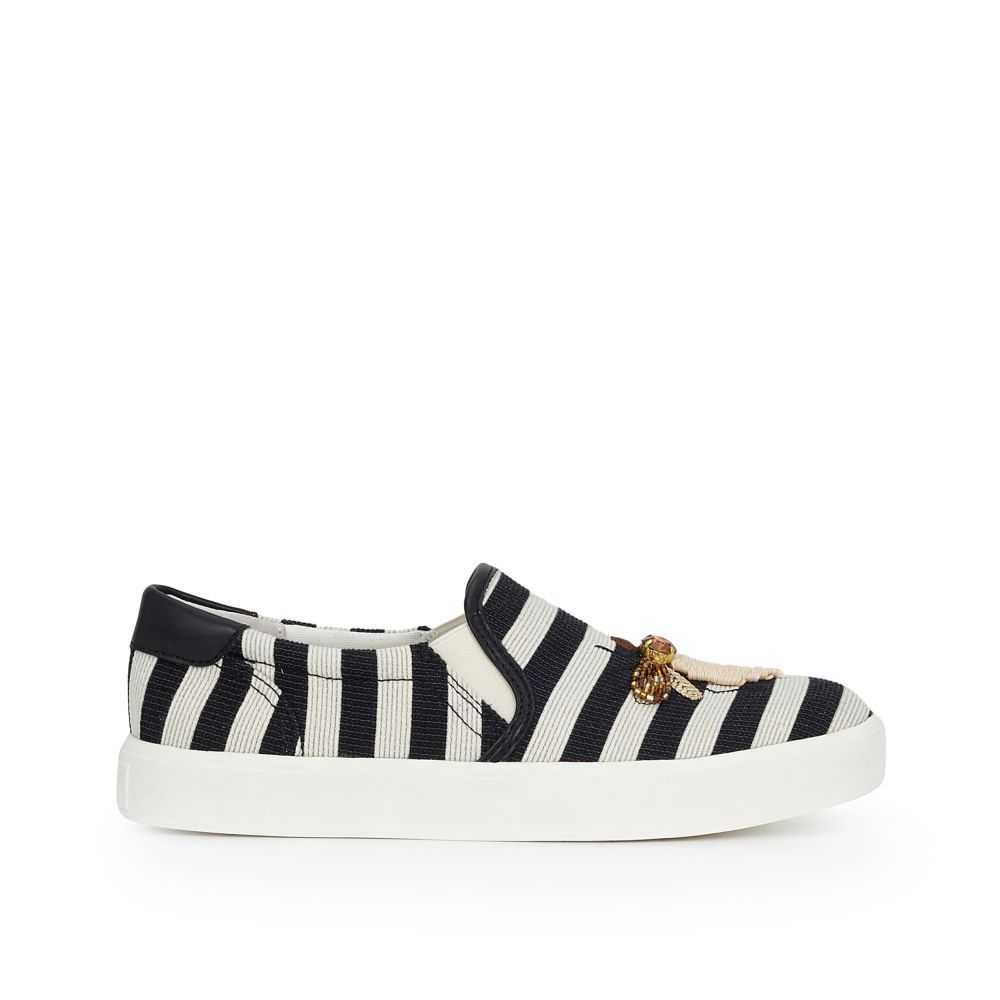c7434760daa0 Our Evelina Slip-On Sneaker mixes nautical vibes with nature with wide  woven stripes and charming bug embroideries. This shoe is great for daytime  bike ...