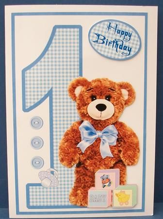 Birthday Bear Boy 1 Year Old On Craftsuprint Designed By Carol Dunne