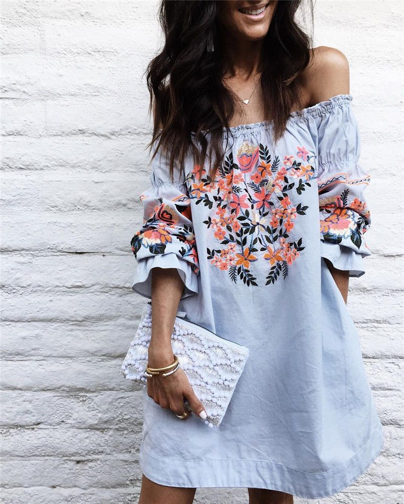New casual women flower printing one piece dress off shoulder short