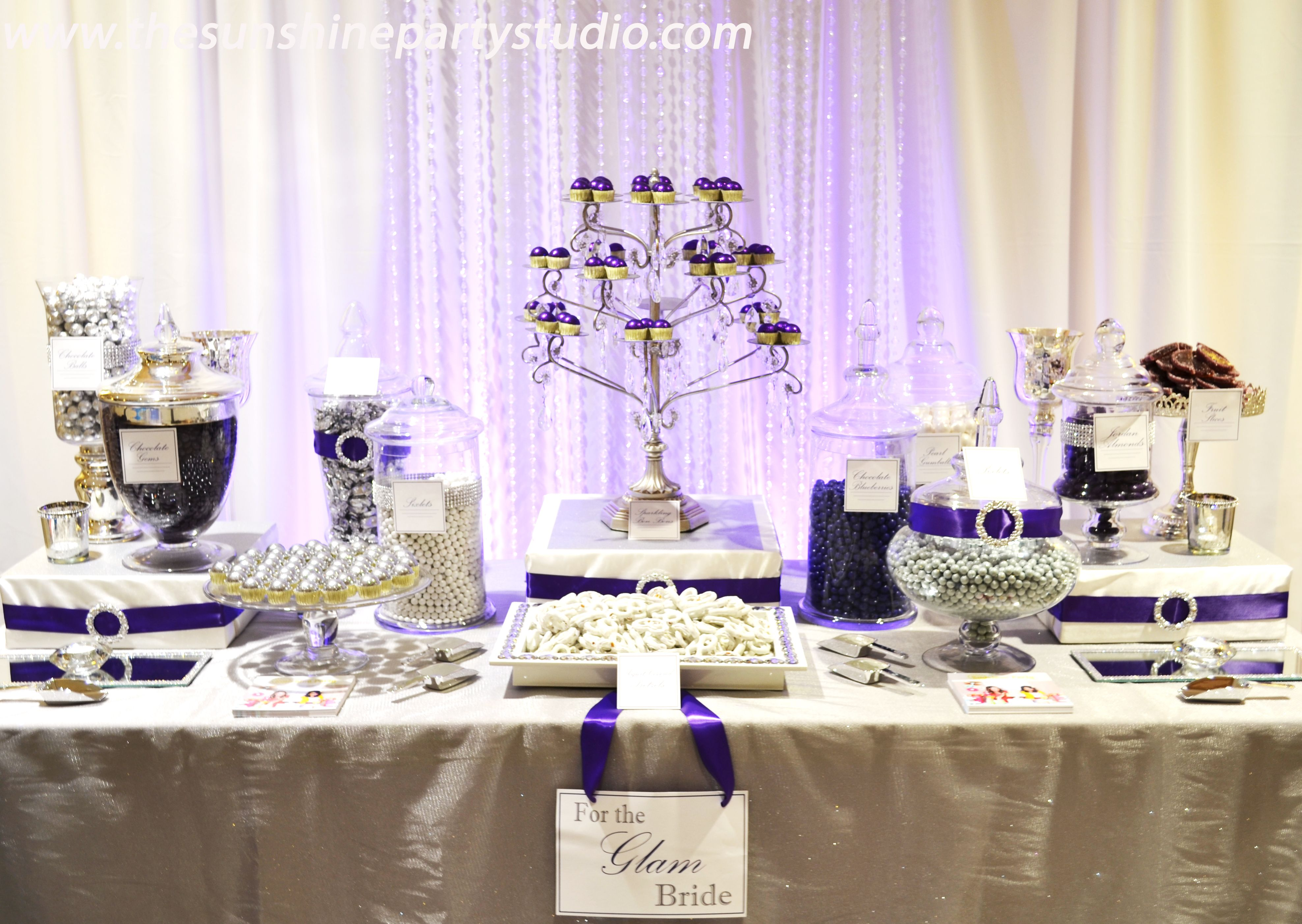 wedding candy bar purple and silver wedding candy buffet tables glam wedding look in