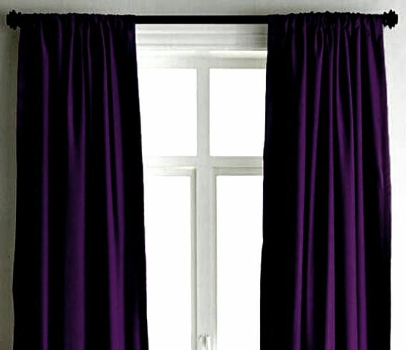 Dark Purple Velvet Curtains Luxury Handmade Designer Drape