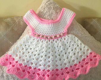 Vestido de bebé de ganchillo  f686c9438241