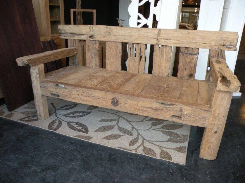 Houten Paletten Bank : Zeer zware teak houten bank m bankjes