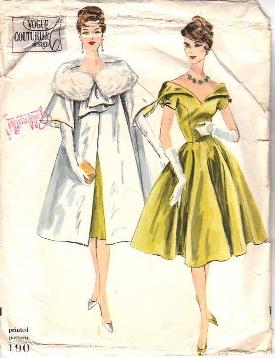 2880617509f1 Vogue 190 Vintage 50's Sewing Pattern INCREDIBLE Couturier Design Winged  Collar Cocktail Party Dress, PUFFY Fur Collar Opera Jacket or Swing Back  Coat