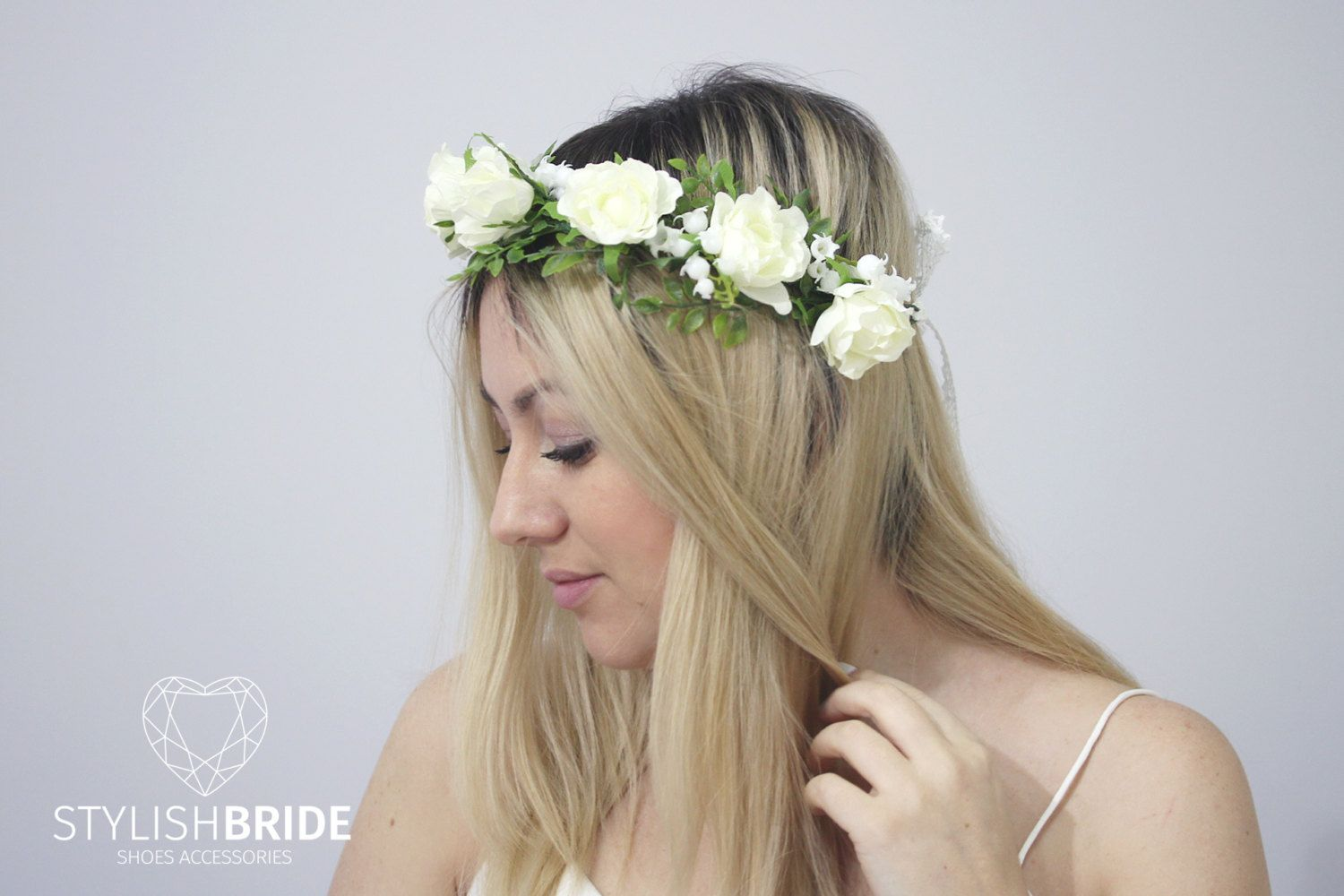 Wedding flower crown with big white roses and lily of the valley wedding flower crown with big white roses and lily of the valley wedding hair vine izmirmasajfo