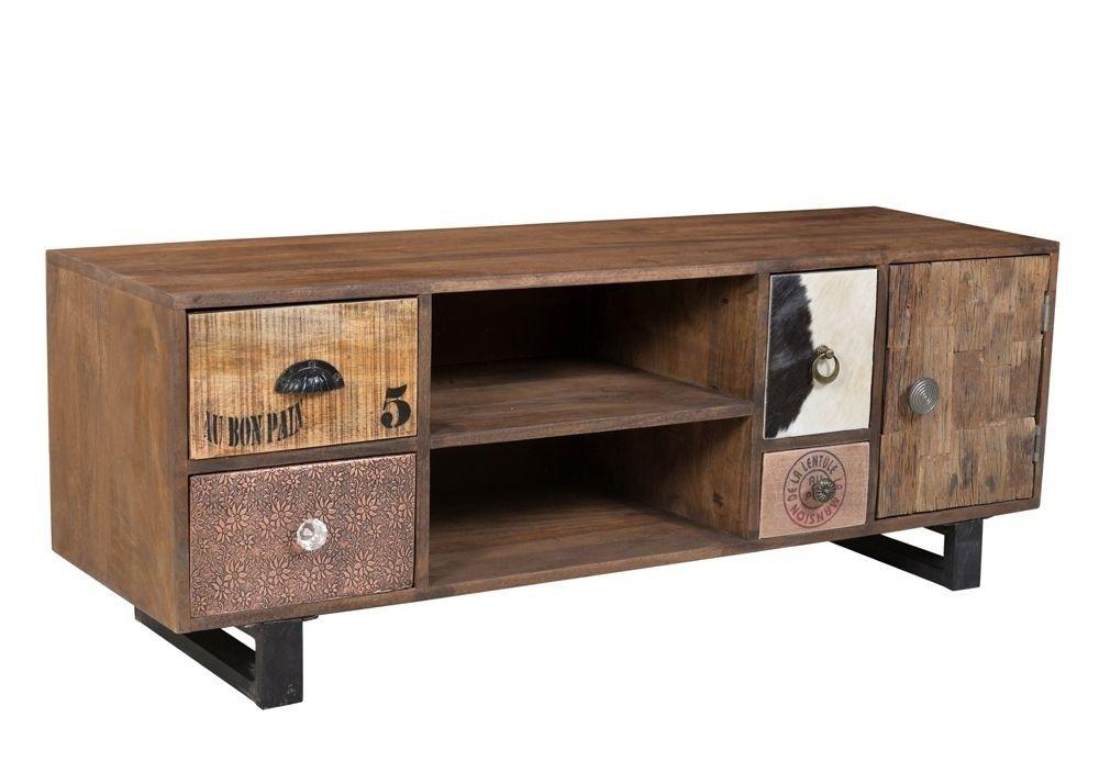 Lowboard ZigZag TV-Schrank Mango Holz Massiv Kupfer Leder Canvas - holz schrank wohnzimmer einrichtung