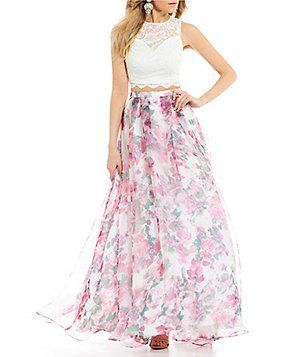 aaf4de83d06 B. Darlin Lace Top with Floral Organza Skirt Two-Piece Dress