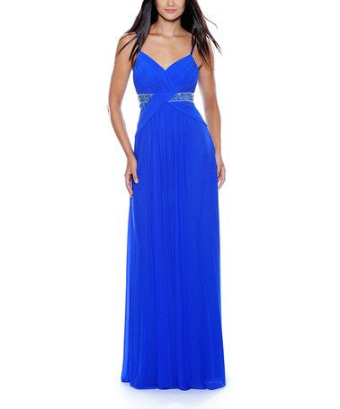 Take a look at this Royal Blue Embellished Empire-Waist Dress - Women by Decode 1.8 on #zulily today!