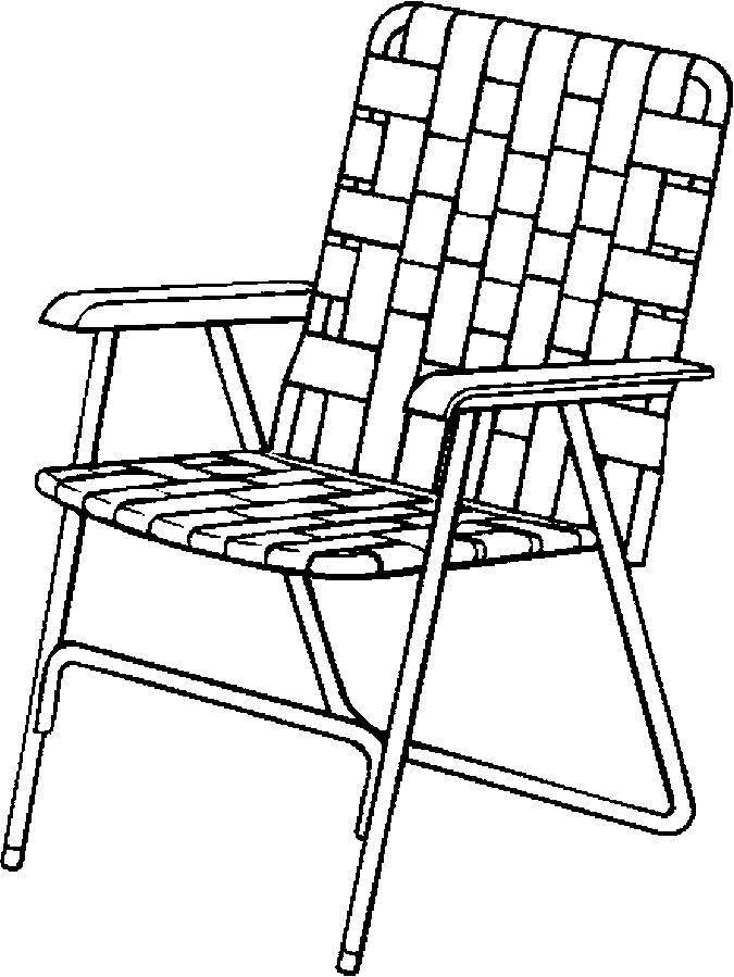 Lawn Chair Folding Coloring Page Color Book Iron Chair
