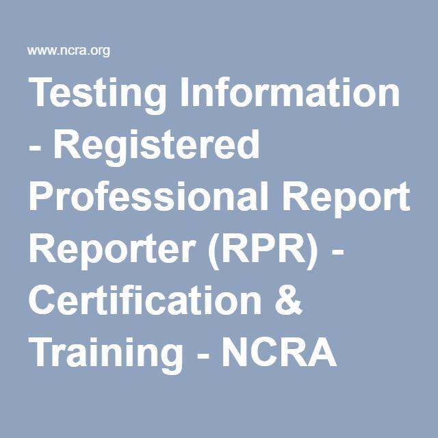 Testing Information Registered Professional Reporter Rpr
