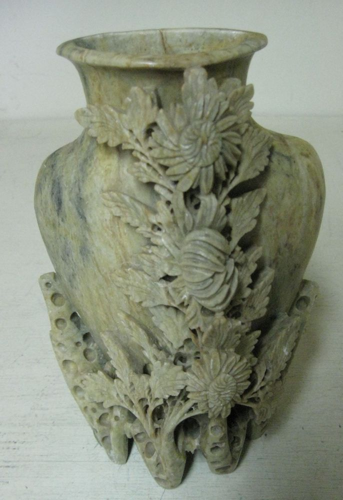 Collectible Carved Soapstone Vase Floral Leaf Carving Janies Pics