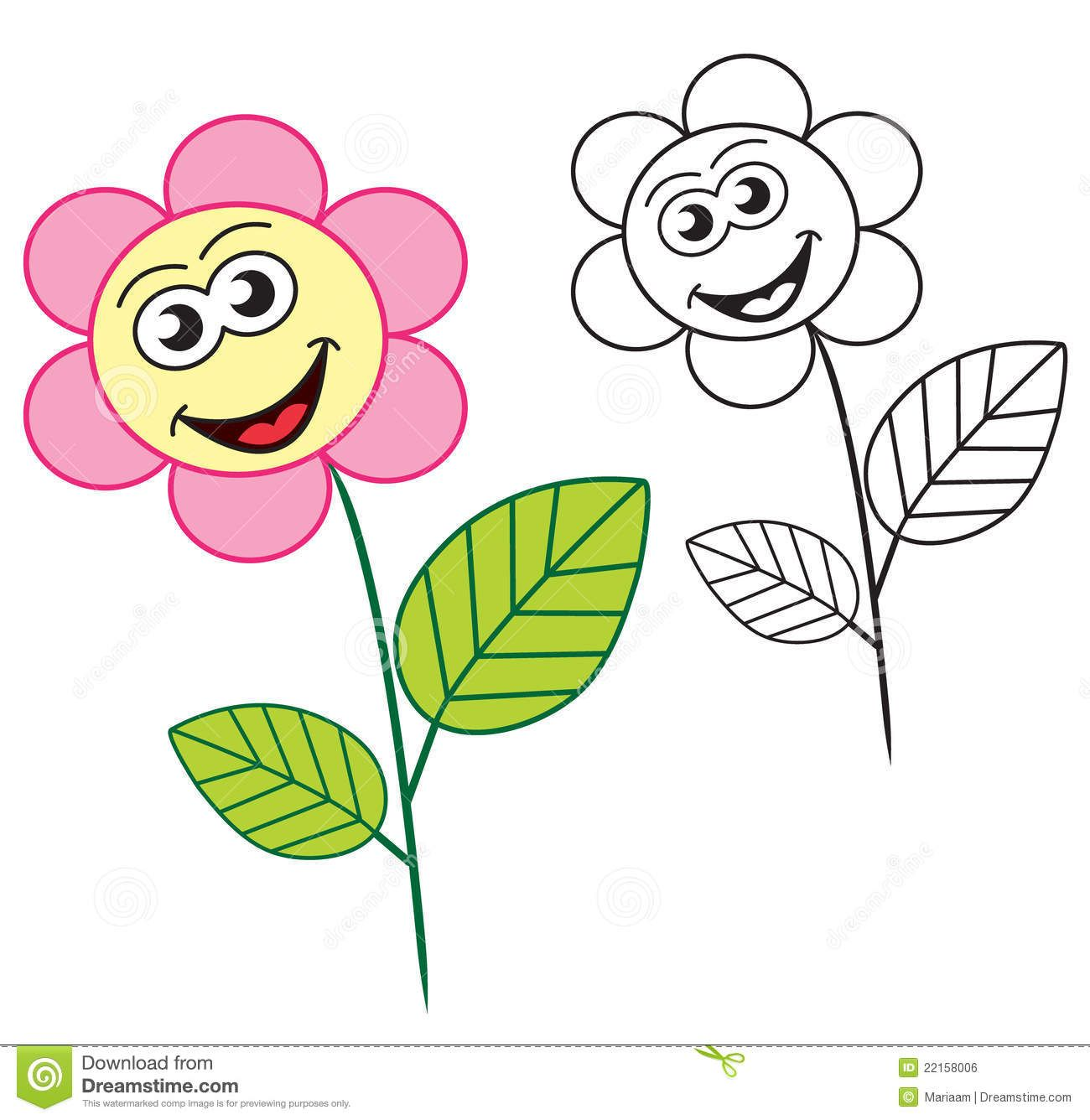 sun happyflowers Coloring Pages | Happy Flower Cartoon Character The ...