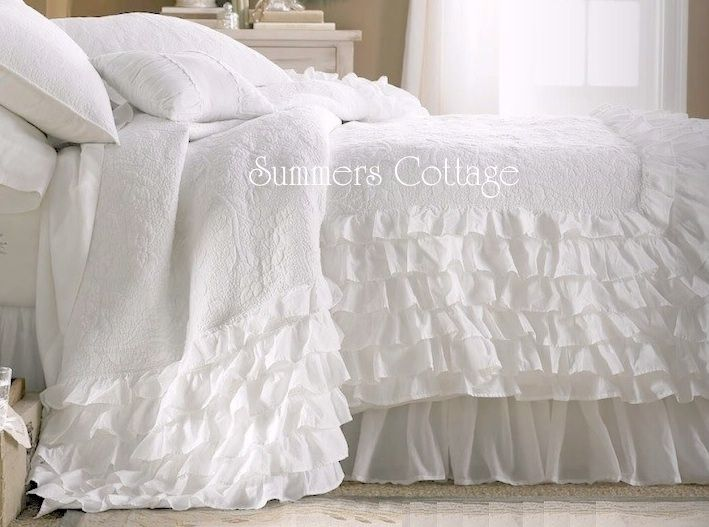 Shabby Romantic Cottage Chic Dreamy White Ruffles Quilt