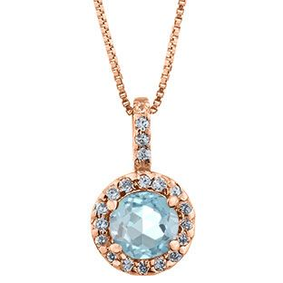 Halo Jewelry Aquamarine Birthstone Diamond Halo Pendant In Rose