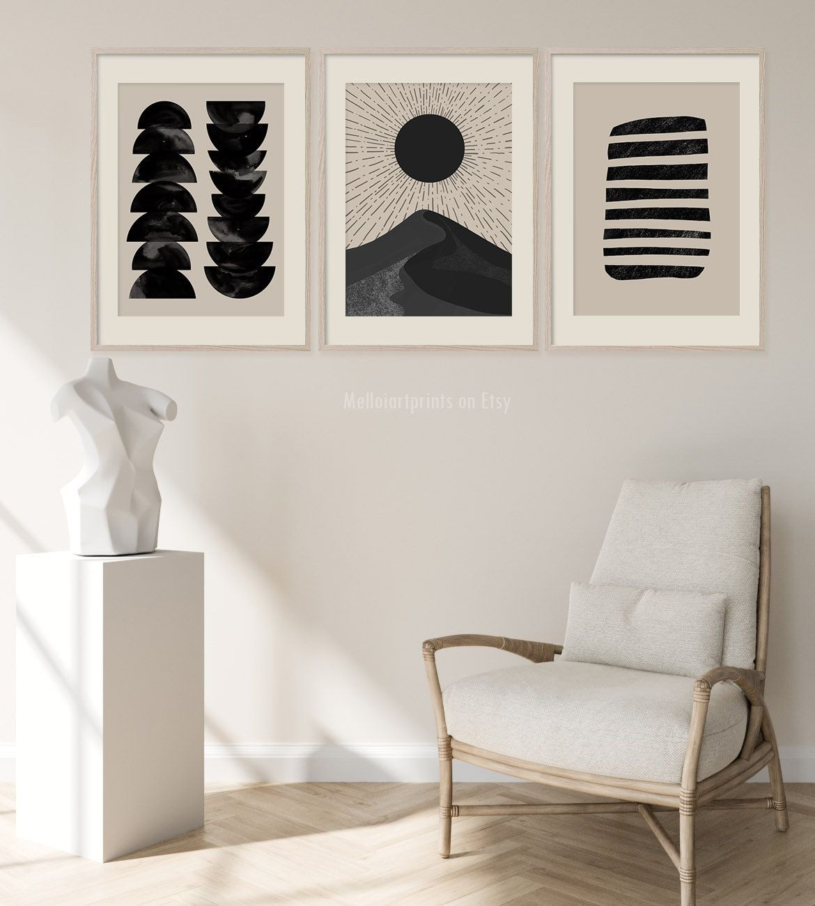 Beige Wall Set Set Of 3 Prints Mid Century Print Boho Decor Etsy Minimalist Decor Beige Walls Home Decor
