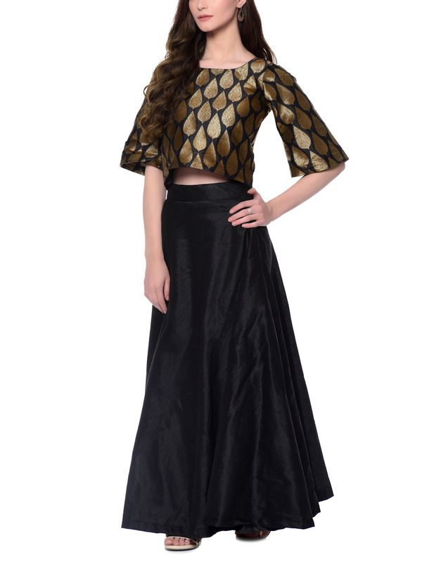 9cf9b926786c6 Indian Fashion Designers - trueBrowns - Contemporary Indian Designer -  Black Bronze Leaf Brocade Top-Skirt - TBS-AW16-4-TB1214