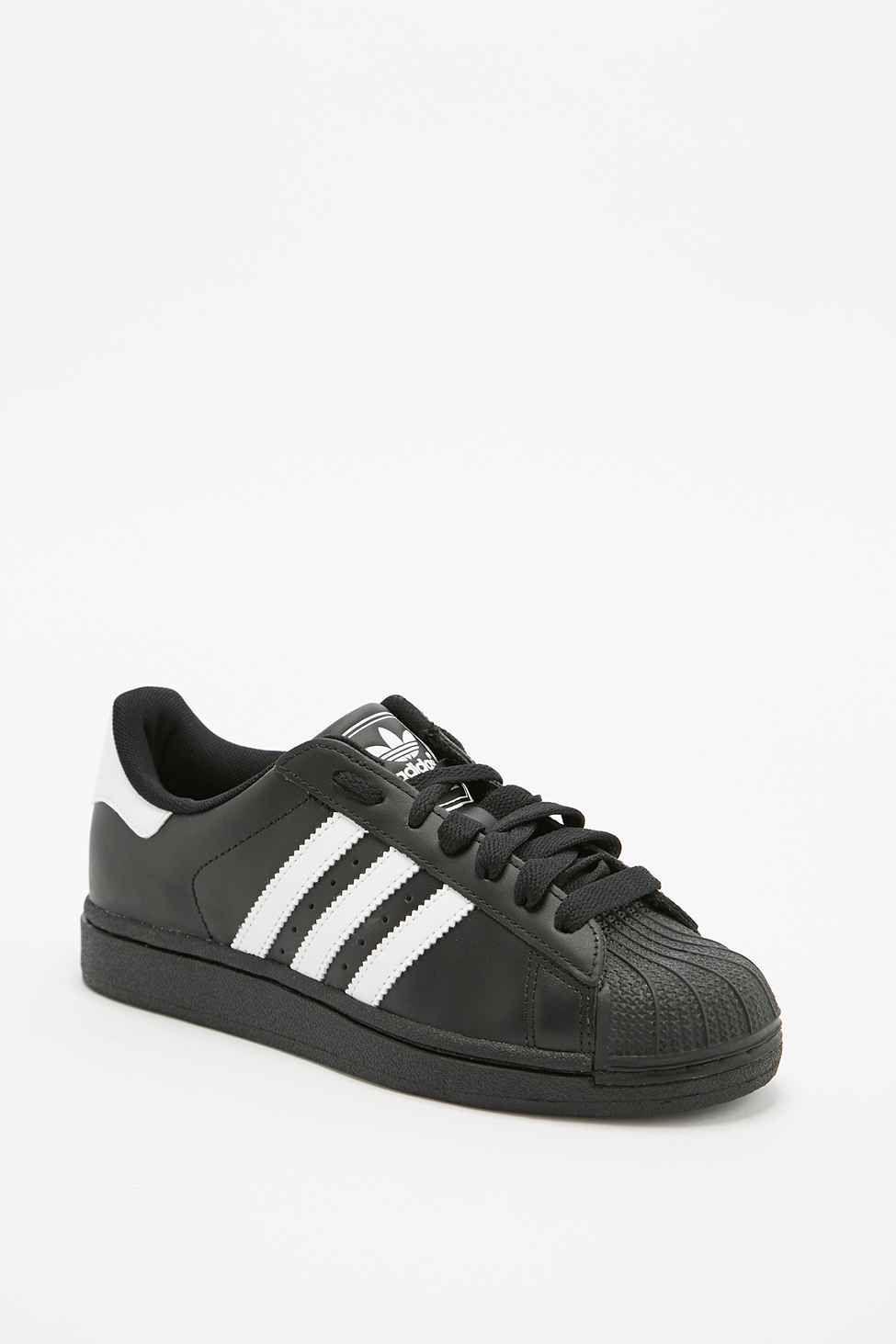 0bb6991257e0 Adidas Originals Superstar 2 White Stripe Trainers in Black ...