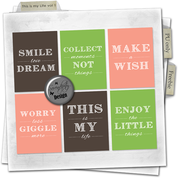 Free This is my Life vol1 Cards from Serendipity Design