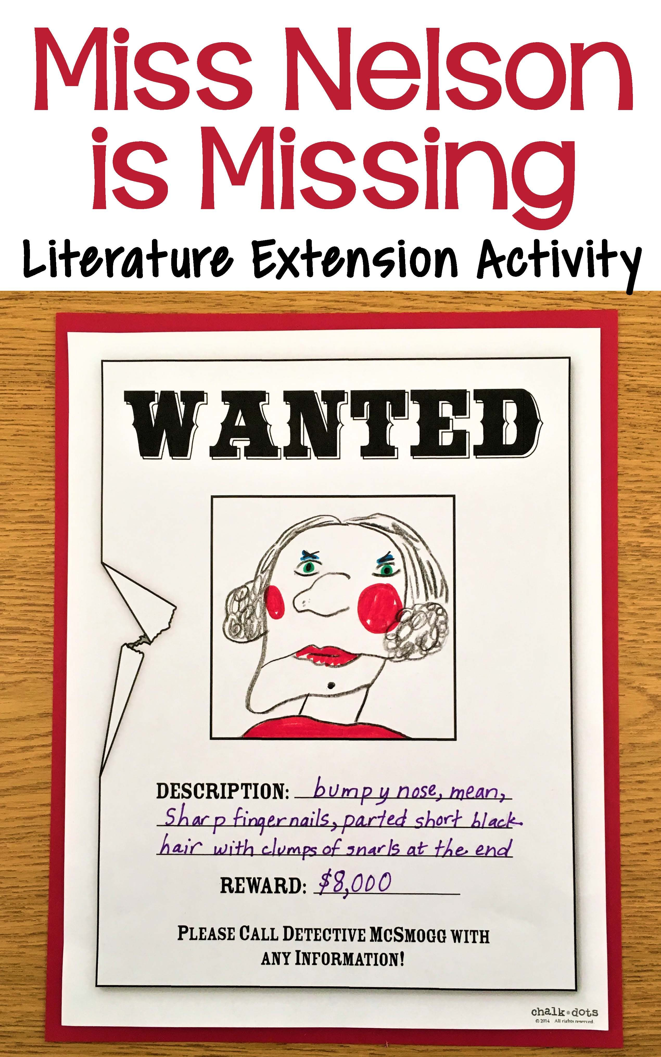 This is a fun literature extension activity to do after reading – Miss Nelson is Missing Worksheets