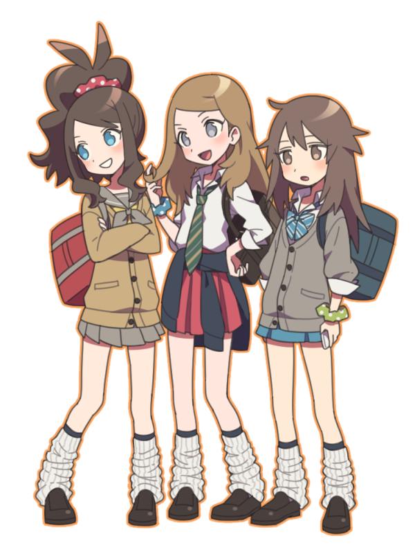 Anime Picture Search Engine 3girls Agata Agatha Alternate Costume Bag Blonde Hair Blue Pokemon Blue Eyes Blush Bowtie B Pokemon Characters Pokemon Anime