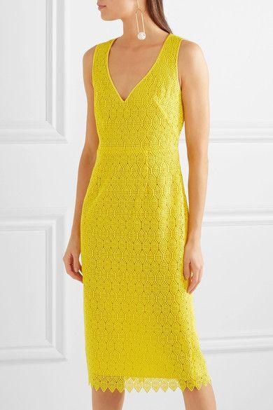 5eaa8236661b Diane von Furstenberg - Crocheted Lace Midi Dress - Yellow ...