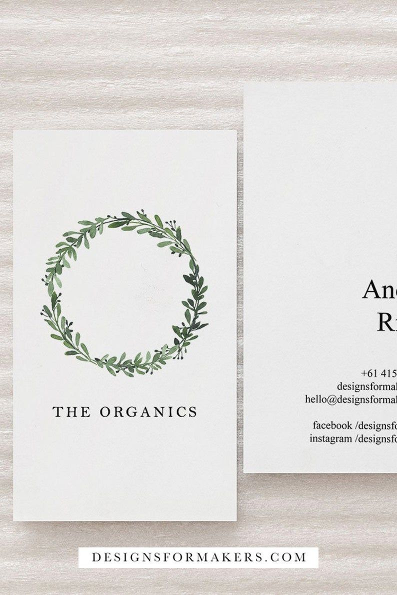 Editable Business Card Template Watercolor Greenery Business Etsy In 2020 Business Card Design Business Cards Diy Templates Business Card Template