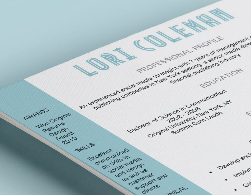 This design features a creative free font coupled with a color - video resume