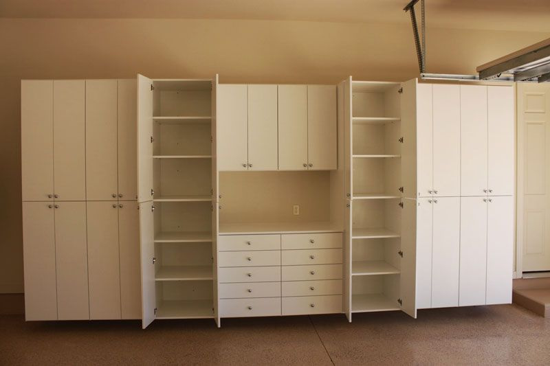 Charmant Large Garage Cabinets, Upper And Workbench With Drawers, Open Drawers,  Artisan Bilt