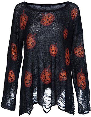 Womens Halloween Pumpkin Sweater Long Sleeve Hollow Out Knit