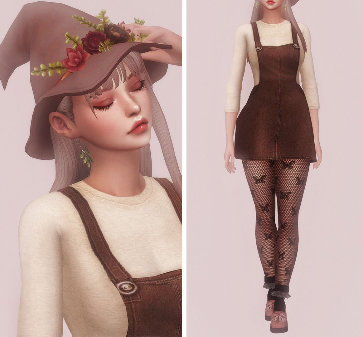 Hair Hat Leaf Earrings Dress Butterfly Fishnets Socks Shoes Trillyke Simlaughlove Sclub Privee Houseofabsurdit With Images Sims 4 Characters Sims Sims Mods