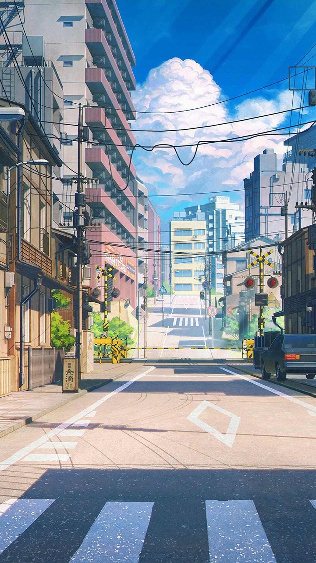 Anime street illustration wallpaper Anime scenery
