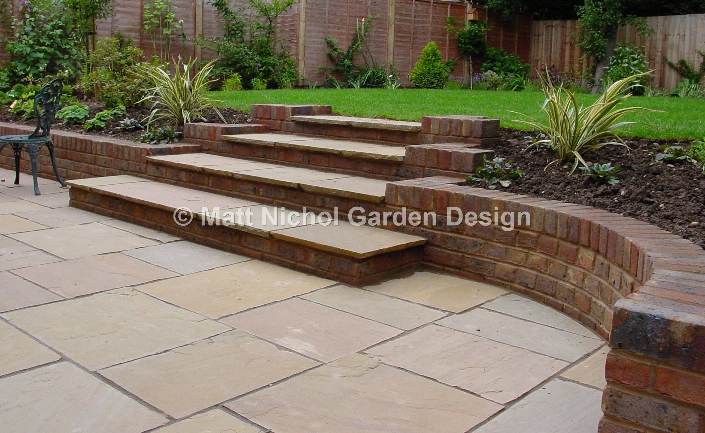 Steps And Paving Detail By Matt Nichol Garden Design Sloped | Patio With Steps To Garden | Sl*P* | Pinterest | Lighting | Balustrade | Contemporary
