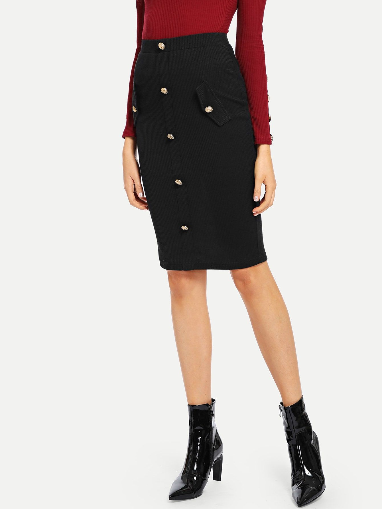 33e926c6384b Women Elegant and Classy Pencil Plain Bodycon High Waist Black Midi Length  Gold Button Detail Rib Knit Pencil Skirt