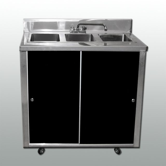 Portable 3 compartment sink - self contained - hot water - 304 stainless  steel