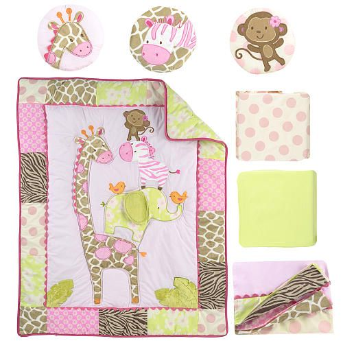 dress your baby girls nursery in visions of sweet safaris. Black Bedroom Furniture Sets. Home Design Ideas